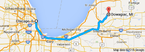 chicago to dowagiac michigan